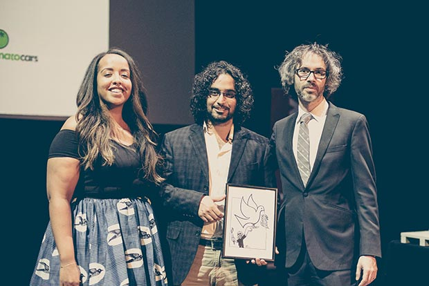 Theatre director Nadia Latif, 2016 Freedom of Expression Arts Award Murad Subay and pianist James Rhodes (Photo: Elina Kansikas for Index on Censorship)