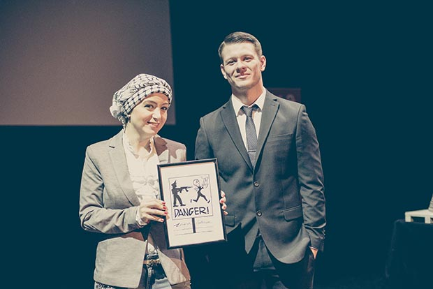 2016 Freedom of Expression Journalism Award winner Zaina Erhaim and Philip Pendlebury of Vice News (Photo: Elina Kansikas for Index on Censorship)