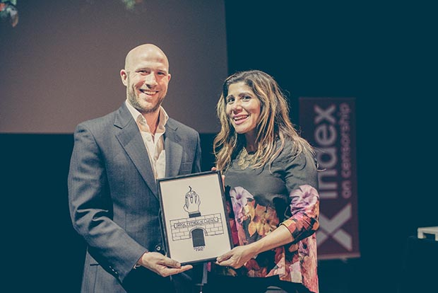 Google's Anthony House and tech entrepreneur Bindi Karia presented the 2016 Freedom of Expression Digital Activism Award to anonymous tech collective GreatFire (Photo: Elina Kansikas for Index on Censorship)