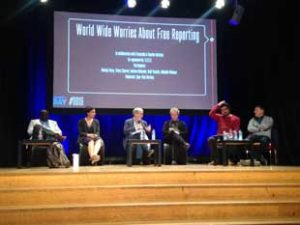 L-r Antoine Kaburahe, Melody Patry, Jean-Paul Marthoz, Thierry Chervel, Abdualla Maksour and Rudi Vranckx at the Difference Day World Wide Worries About Free Reporting debate