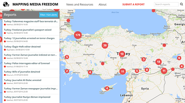 The number of threats to media freedom in Turkey have surged since the failed coup on 15 July.