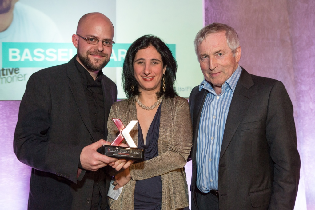 Bassel Khartabil, winner of the 2013 Freedom of Expression Digital Activism Award, was in prison when he won the award. His friends accepted the award on his behalf. From left: Jon Phillips, Dana Trometer and then-chair of Index on Censorship Jonathan Dimbleby.