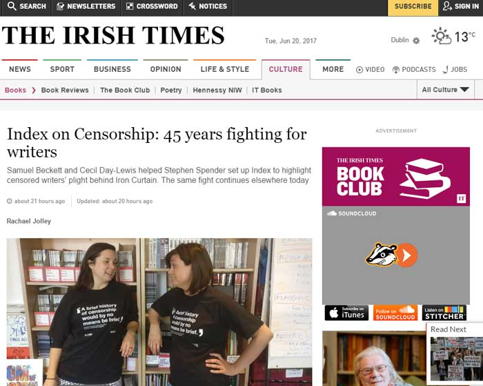 Index on Censorship in the Irish Times