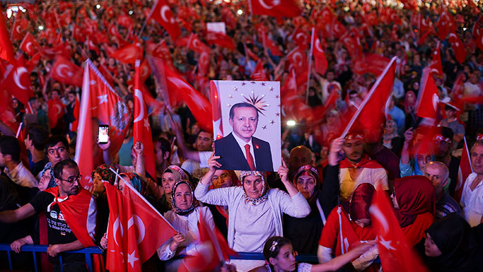 A post-coup demonstration in support of Erdogan