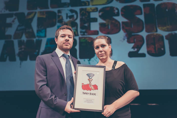 Alp Toker and Isik Mater of Digital Activism Award-winning Turkey Blocks at the 2017 Freedom of Expression Awards