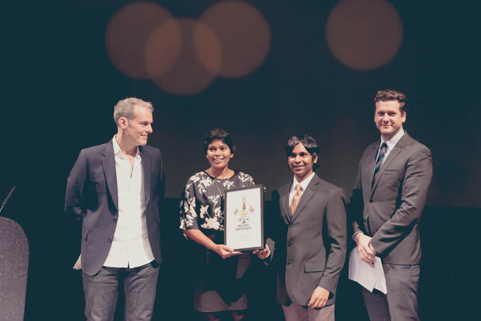 SAGE Publishing's Ziyad Marar, 2017 Freedom of Expression Award Journalism Fellow Zaheena Rasheed, Maldives Independent's Ahmed Naish, CNN London bureau chief Tommy Evans (Photo: Elina Kansikas for Index on Censorship)