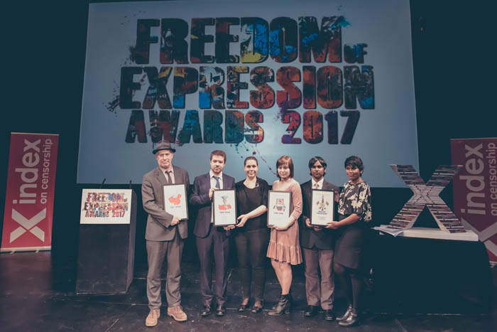 From left: Cartoonist Martin Rowson accepting the Arts Award on behalf of Chinese cartoonist Rebel Pepper; Alp Toker of Digital Activism Award-winner Turkey Blocks; Isik Mater of Digital Activism Award-winner Turkey Blocks; Anastasia Zotova, wife and campaign partner of Campaigning Award-winner Ildar Dadin; Ahemd Naish, editor of Journalism Award-winning Maldives Independent; Zaheena Rasheed, former editor of Journalism Award-winning Maldives Independent. (Photo: Elina Kansikas for Index on Censorship)