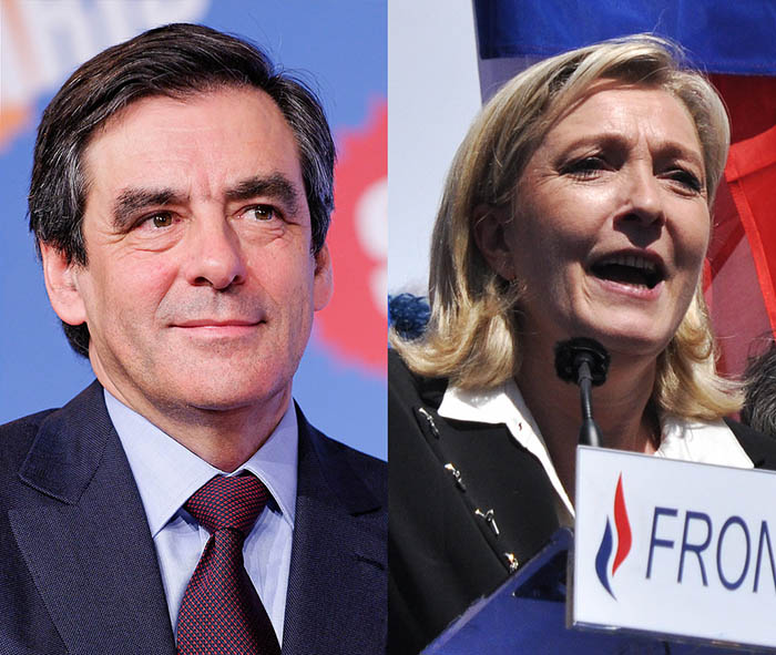 François Fillon, presidential candidate for Les Républicains, and Marine Le Pen, the Front National candidate. Credit: Prachatai / Flickr