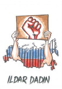 2017 Freedom of Expression Campaigning Award-winning Ildar Dadin was presented an illustration created by cartoonist Aseem Trivedi