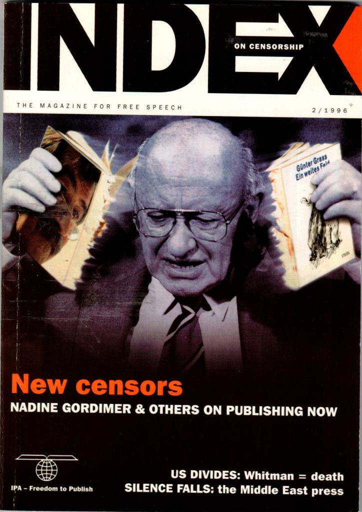 New censors, the March 1996 issue of Index on Censorship magazine.