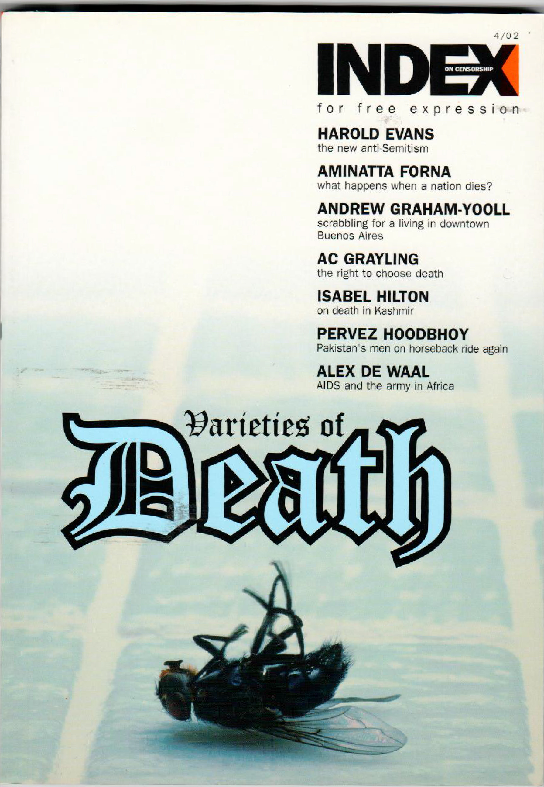 Varieties of death, the winter 2002 issue of Index on Censorship magazine.
