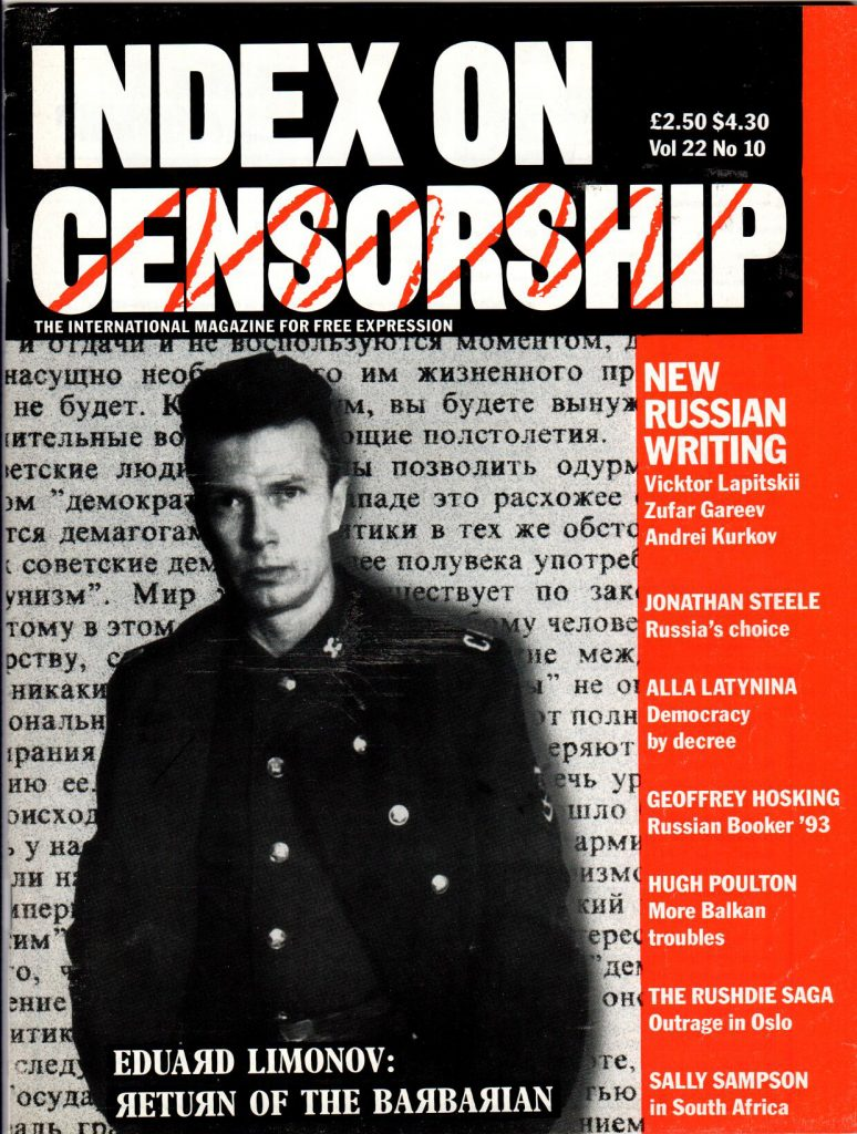 Russia's choice, the November-December 1993 issue of Index on Censorship magazine.