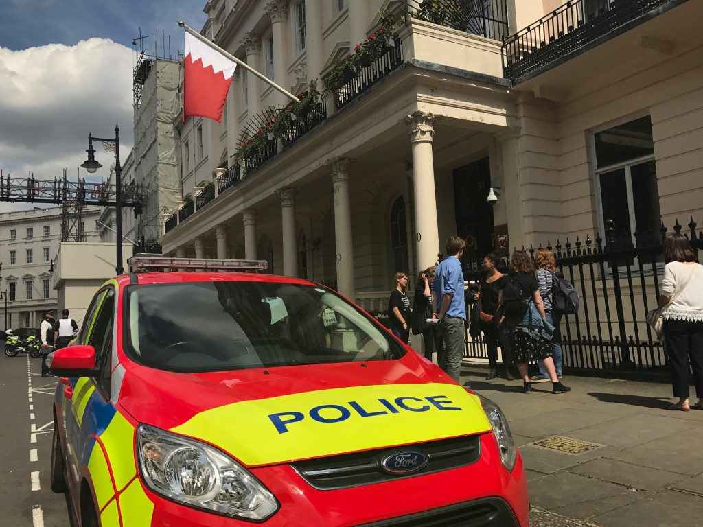 Police cars arrived outside the Embassy of Bahrain during protest and later arrested a protester, Sayed Ahmed Alwadaei.