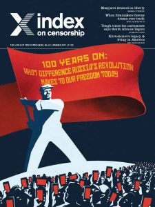 100 years on, the summer 2017 issue of Index on Censorship magazine explores the legacy of the Russian revolution. (Illustration: Ben Jennings for Index on Censorship)
