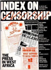 Press in West Africa, the June 1990 issue of Index on Censorship magazine.