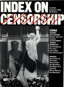 China: student declaration, the September 1989 issue of Index on Censorship magazine.