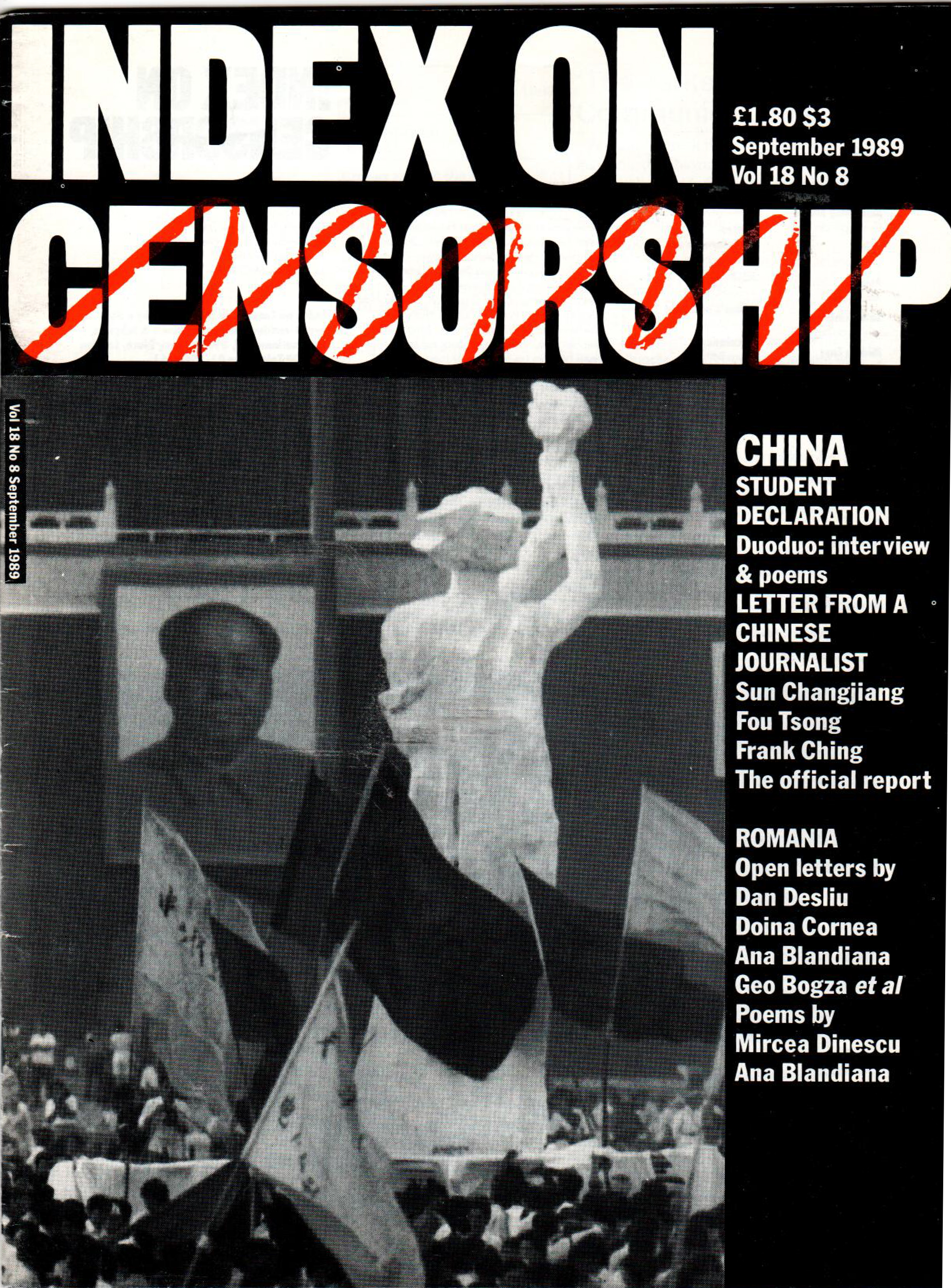 China: student declaration, the September 1989 issue of Index on Censorship magazine.