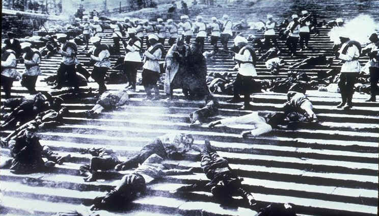A still from Sergei Eisenstein's 1925 film, Battleship Potemkin, portraying a massacre that never happened. Credit: Wikimedia