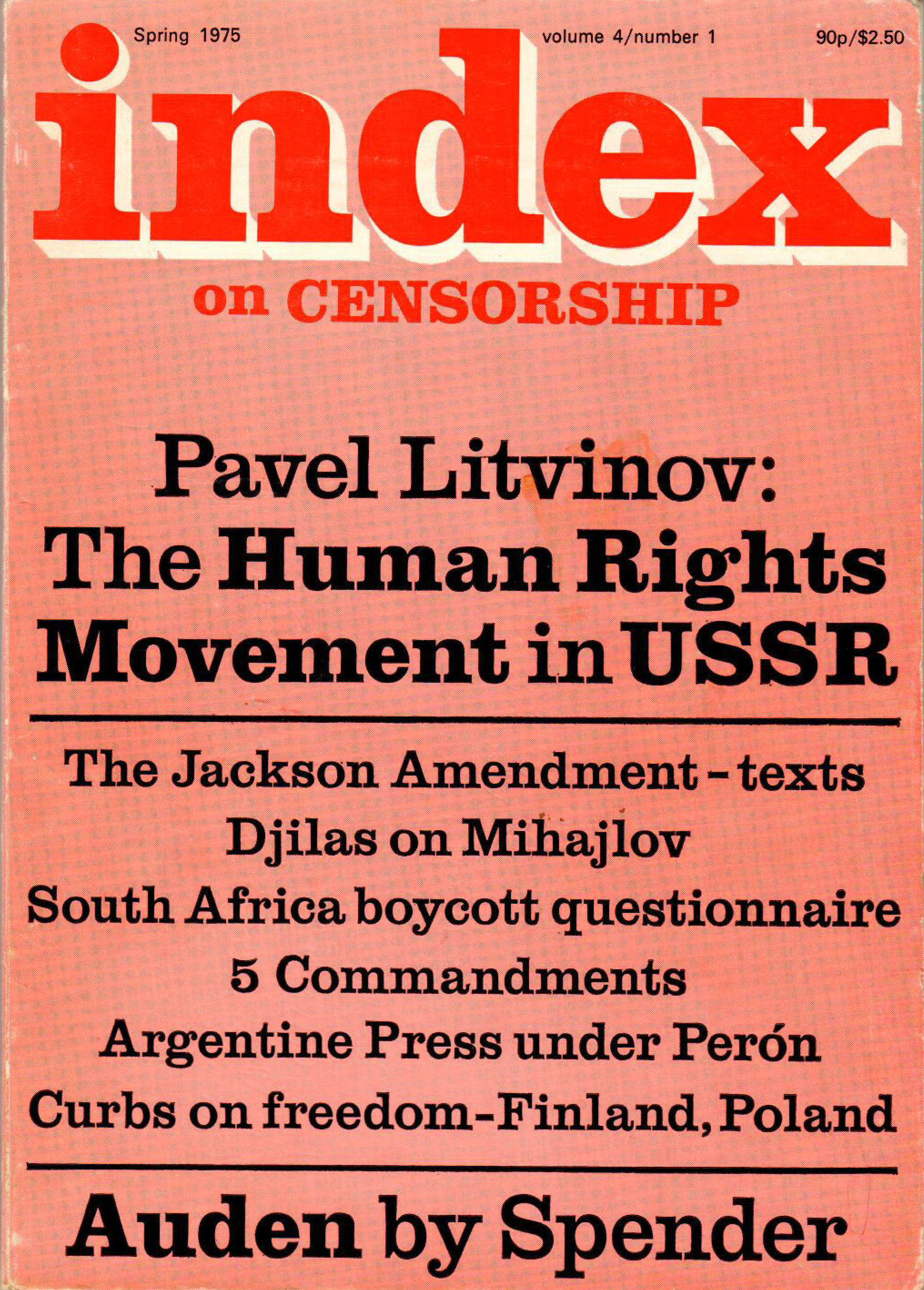 The human rights movement in USSR, the Spring 1975 issue of Index on Censorship magazine