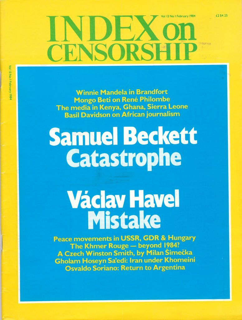 Samuel Beckett: Catastrophe, the January 1984 issue of Index on Censorship magazine.