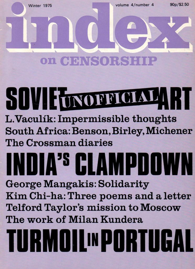"Soviet ""unofficial"" art, the Winter 1975 issue of Index on Censorship magazine"
