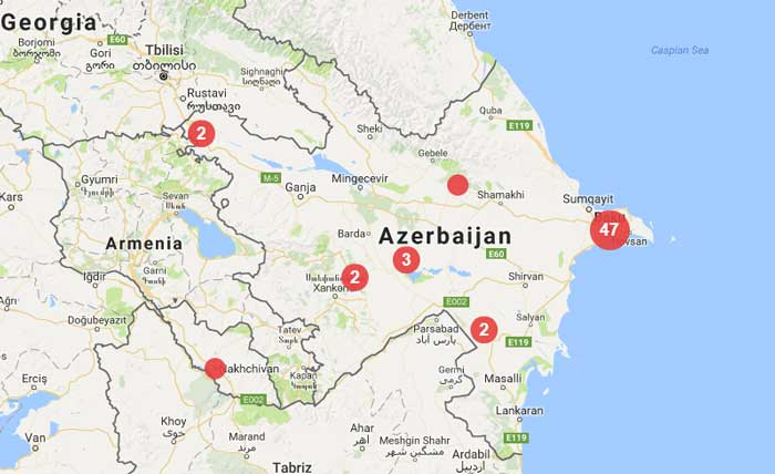 As of 14/7/2017, there were 60 verified press freedom violations in Azerbajian