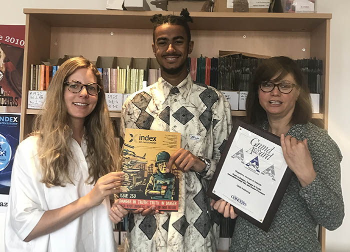Jemimah Steinfeld, deputy editor of Index on Censorship magazine, Kieran Etoria-King, editorial assistant, and Rachael Jolley, editor.