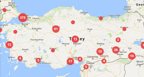 As of July 24 2017 there were 496 media violations associated with Turkey in the Mapping Media Freedom database.