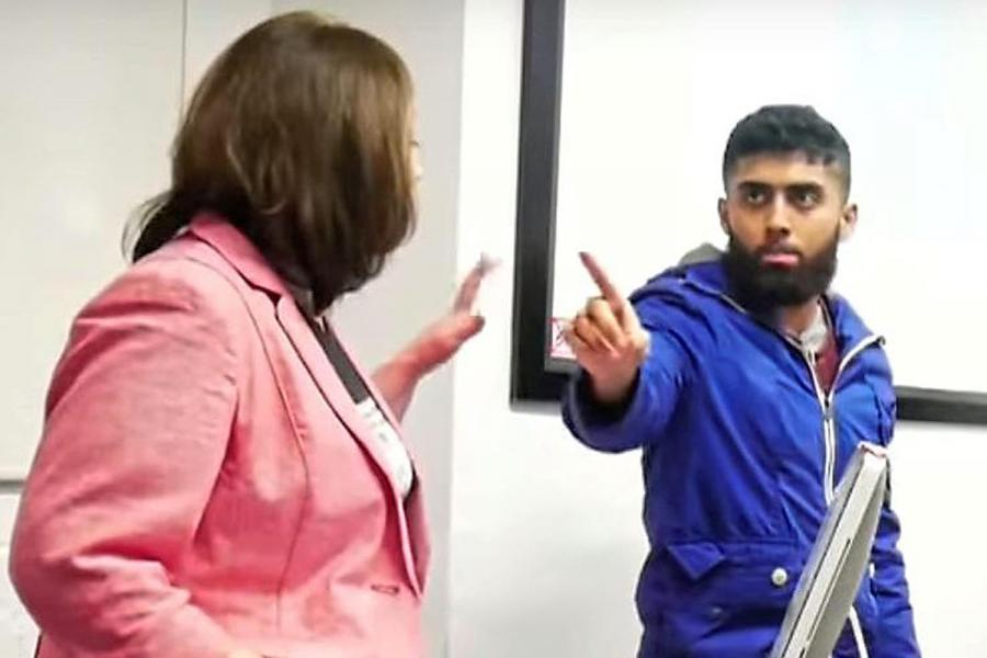 Human-rights campaigner Maryam Namazie is heckled by a student at Goldsmiths, University of London