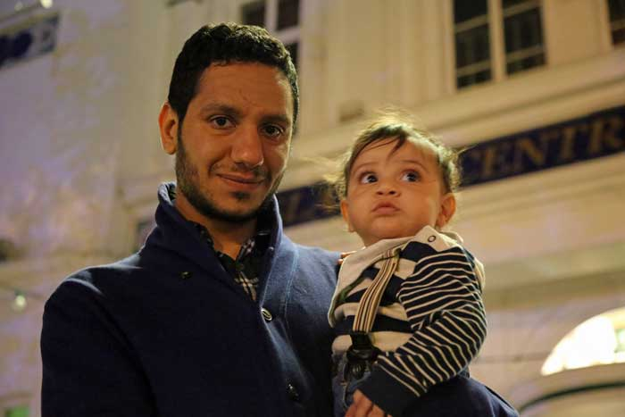 Sayed Ahmed Alwadaei with his son Yousif (Photo: Moosa Satrawi)