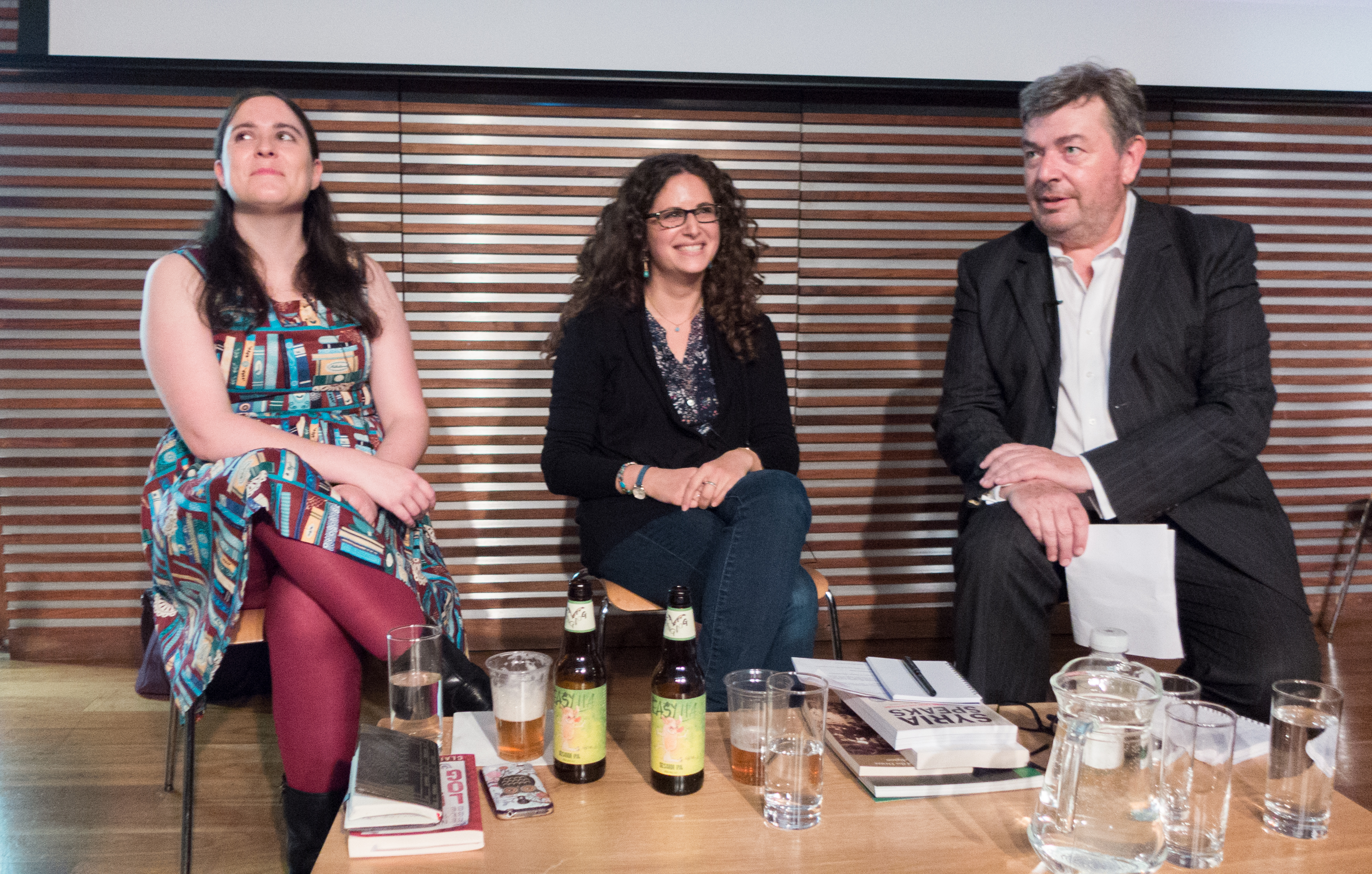 Young adult author Claire Hennessy and Saqi Books publisher Lynn Gaspard joined journalist David Aaronovitch in conversation.