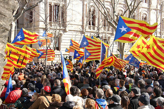 Pro-Catalan independence demonstration, 9 February 2017. Credit: Assemblea.cat