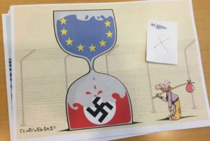 Dimitris Georgopalis' editorial cartoon removed from a European Parliament exhibition. Credit: Stelios Kouloglou, MEP