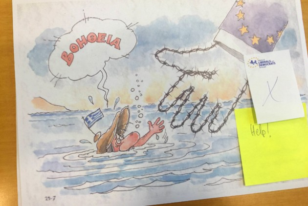 Spyros Ornerakis' editorial cartoon removed from a European Parliament exhibition. Credit: Stelios Kouloglou, MEP