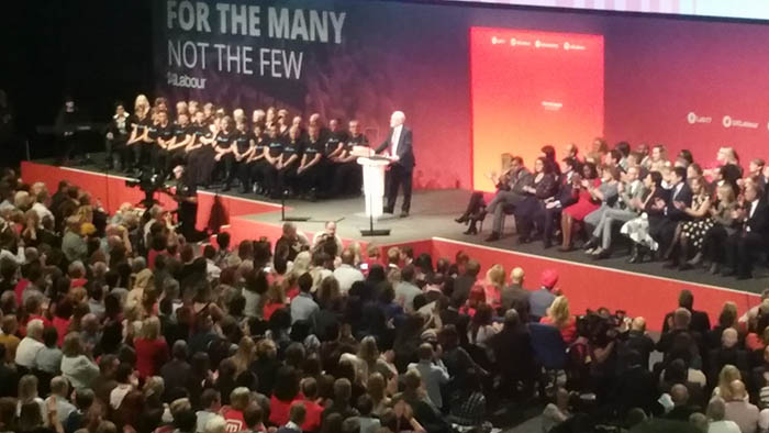 Jeremy Corbyn speaks at Labour Party conference in Brighton in 2017. Credit: DaveLevy/Flickr