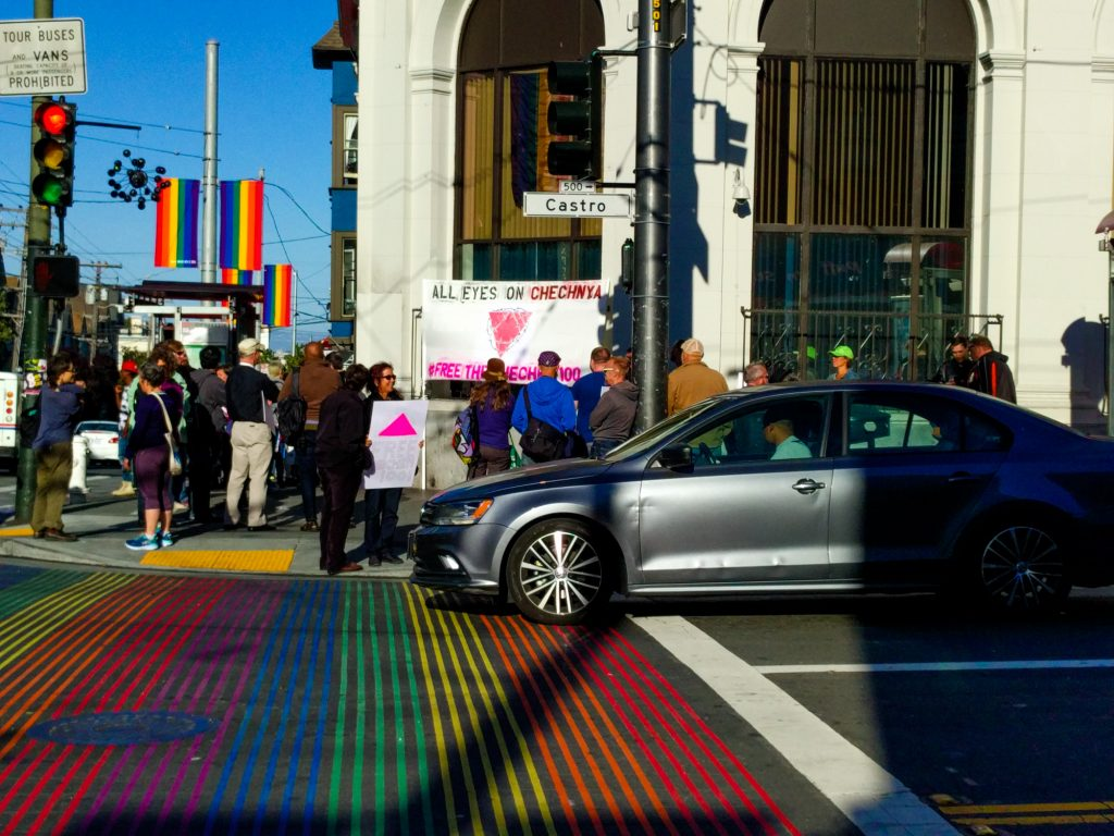 A demonstration in May 2017, San Francisco, to raise awareness for the persecution of LGBT people in Chechnya, Mitch Altman/Flickr