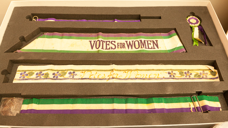 Suffragette sashes at the launch of What price protest? (Photo: Sean Gallagher / Index on Censorship)