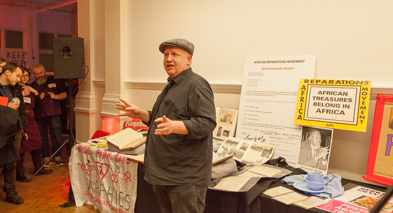 Bishopsgate Institute special collections and archives manager Stefan Dickers at the launch of What price protest? (Photo: Sean Gallagher / Index on Censorship)