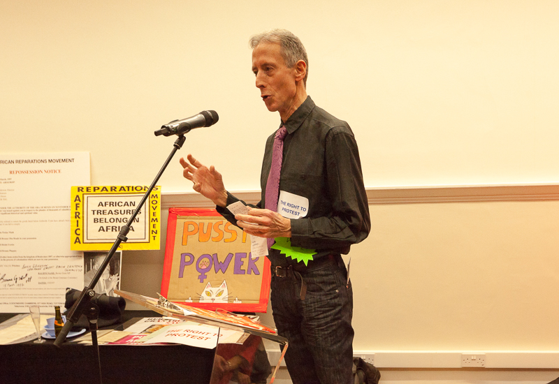 Peter Tatchell discusses the importance of the right to protest. (Photo: Sean Gallagher / Index on Censorship)
