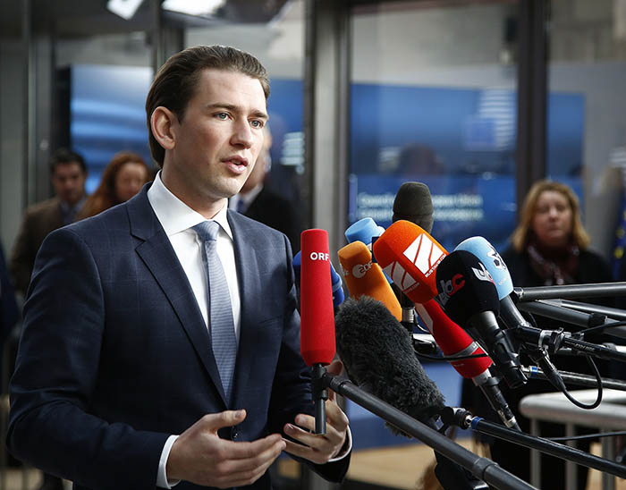 Sebastian Kurz in Brussels, February 2017. Credit: Dragan Tatic