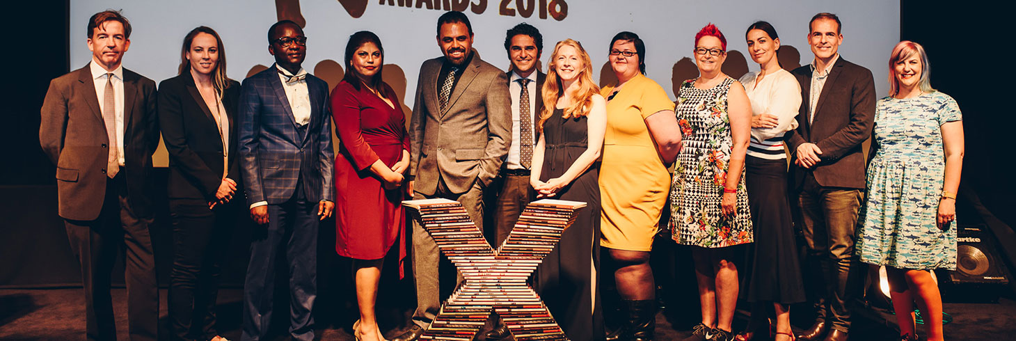 2018 Campaigning Award sponsor Doughty Street Chambers barrister and 2018 Freedom of Expression Awards judge Tim Moloney QC; Cheryll Simpson, UK bureau chief of Vice News; 2018 Digital Activism Fellow Guy Muyembe of the Digital Activism Award-winning Habari RDC; 2018 Freedom of Expression Journalism Award-winner and 2018 Journalism Fellow Honduran investigative journalist Wendy Funes; Ahmad Abdallah and Mohamed Sameh of the 2018 Campaigning Award-winning Egyptian Commission for Rights and Freedoms; Index on Censorship CEO Jodie Ginsberg; Christel Dahlskjaer of Digital Activism Award sponsor Private Internet Access; Tech evangelist Dr. Sue Black; Yana Peel, CEO of the Serpentine Galleries; Ziyad Marar, Global Publishing Director SAGE Publishing; Stand-up poet Kate Fox, host of the 2018 Index on Censorship Freedom of Expression Awards (Photo: Elina Kansikas for Index on Censorship)