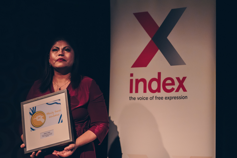 2018 Freedom of Expression Journalism Award-winner and 2018 Journalism Fellow Honduran investigative journalist Wendy Funes at the 2018 Index on Censorship Freedom of Expression Awards (Photo: Elina Kansikas for Index on Censorship)