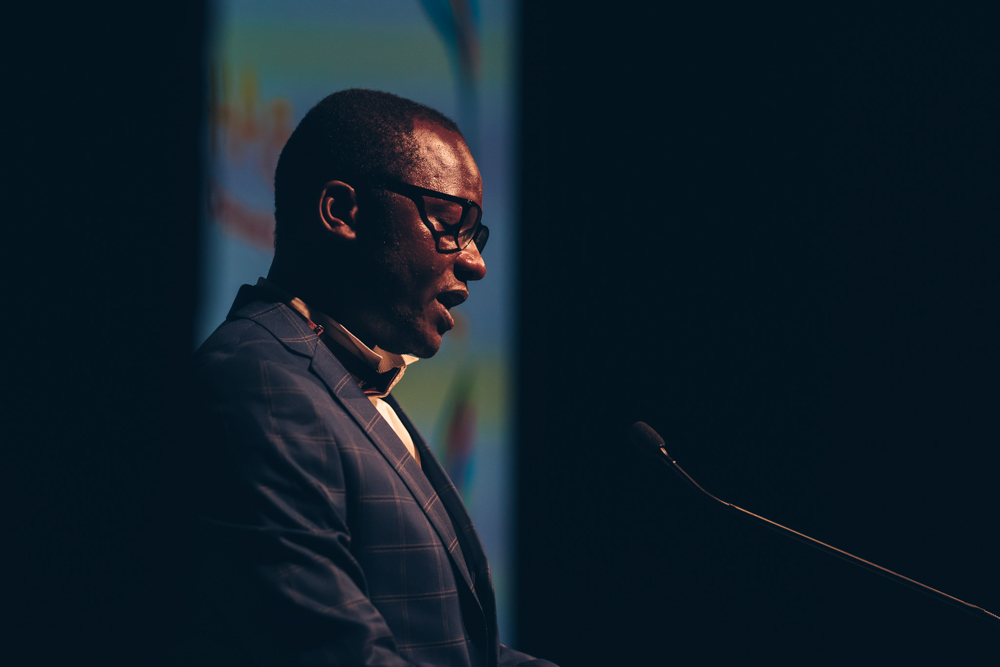 Guy Muyembe of the Digital Activism Award-winning Habari RDC at the 2018 Index on Censorship Freedom of Expression Awards (Photo: Elina Kansikas)
