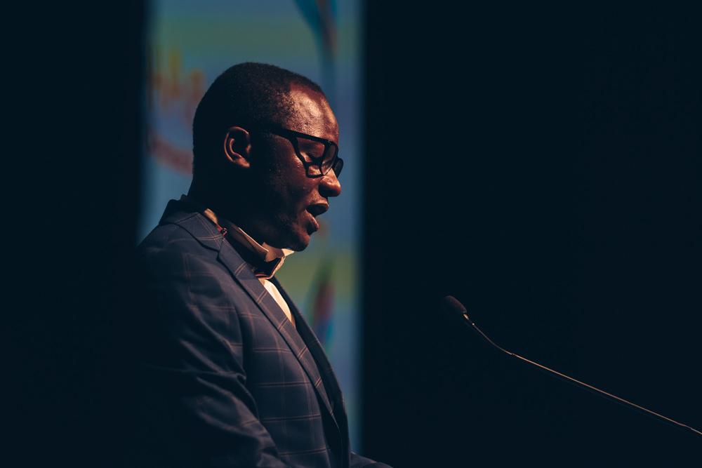 Guy Muyembe of the Digital Activism Award-winning Habari RDC at the 2018 Index on Censorship Freedom of Expression Awards (Photo: Elina Kansikas)
