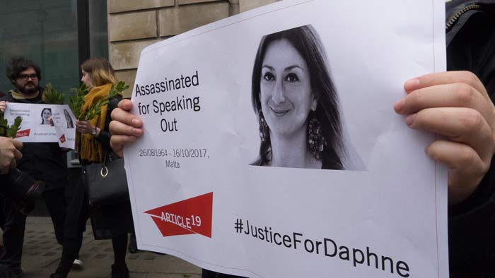 Protesters marked the six-month anniversary Daphne Caruana Galizia's murder. (Photo: Lauren Brown for Index on Censorship)