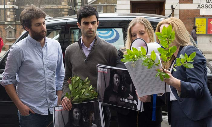 Matthew and Paul Caruana Galizia marked six months since their mother's murder at a protest outside Malta House. (Photo: Lauren Brown for Index on Censorship)