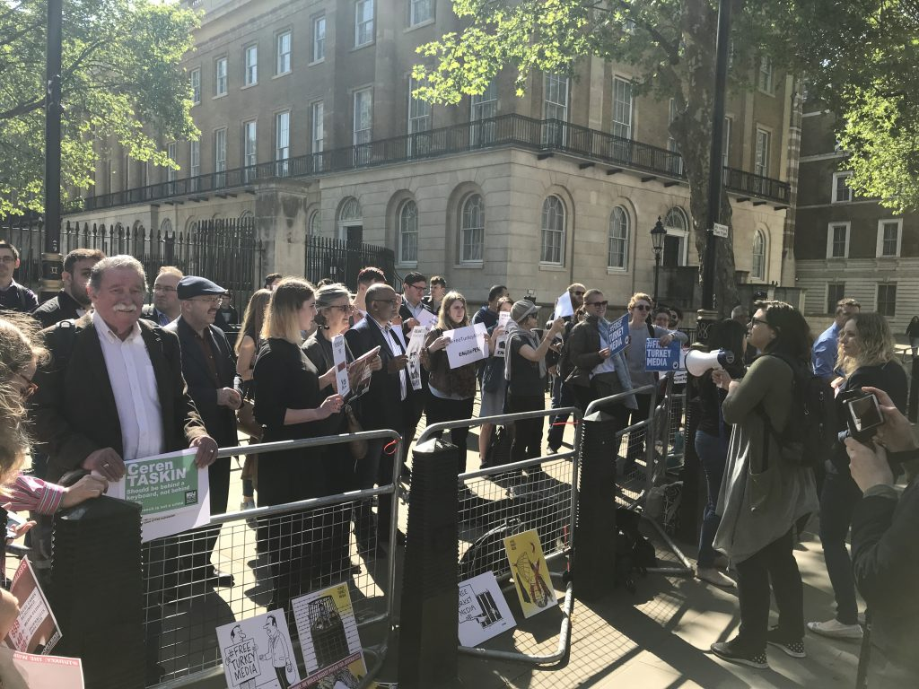 Index on Censorship magazine editor Rachael Jolley leads chants in support of Turkey's jailed journalists ahead of Erdogan visit to Downing Street