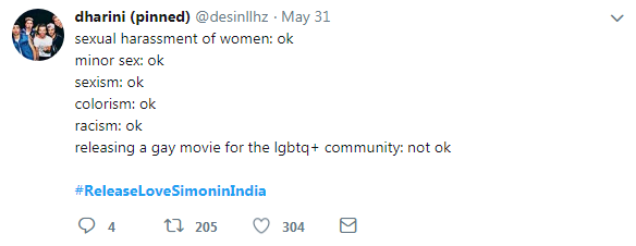 tweet-releasing a gay movie for the lgbtq+ community not ok?