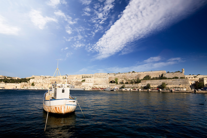 One side of the story: The pretty harbour in Valletta, Malta