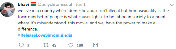 tweet- Domestic abuse isn't illegal but homosexuality is.